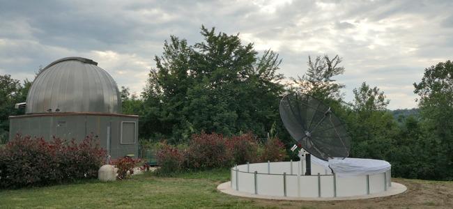 Il radiotelescopio Spider230 installato presso il Museo del Balì (Saltara -PU)