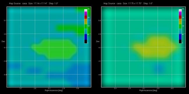 Cassiopea A registrata con il radiotelescopio SPIDER: due radiomappe di Cassiopea A mostrano l'incremento del segnale proprio vicino al centro della mappa