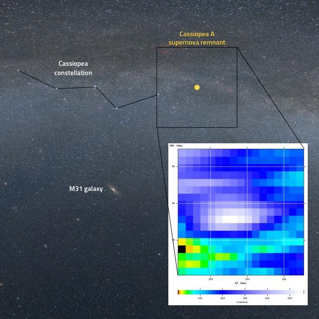 Cassiopea A registrata con il radiotelescopio SPIDER: confronto tra immagine ottica e radiomappa dell'area di cielo di Cassiopea A