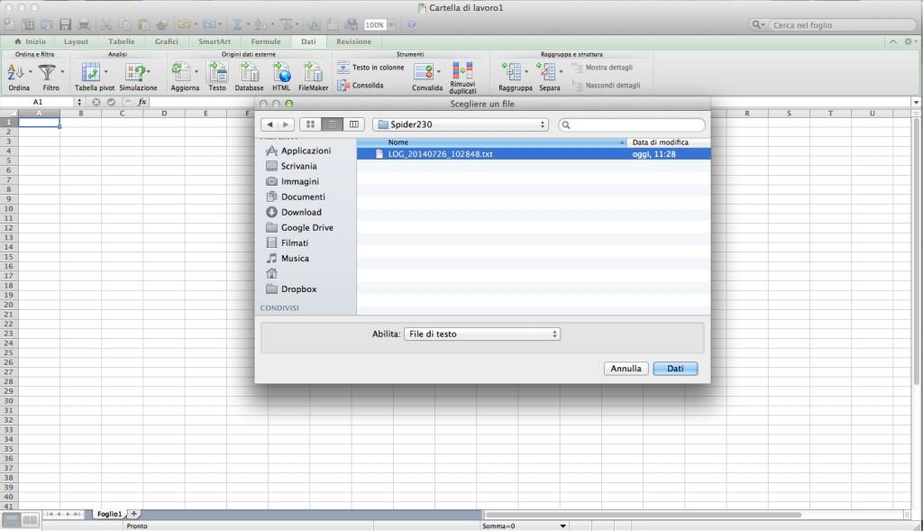 Importiamo i dati registrati in Excel