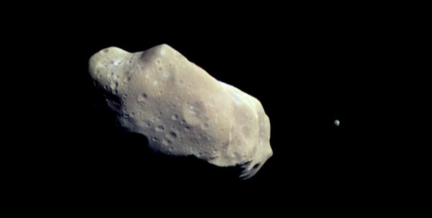 Planets of the Solar System: Ida asteroid pictured by Galileo spacecraft (Courtesy NASA/JPL)