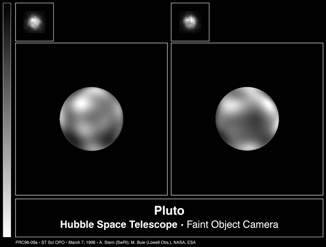 Planets of the Solar System: Pluto and, top-left, Charon (Courtesy: Alan Stern (Southwest Research Institute), Marc Buie (Lowell Observatory), NASA e ESA)
