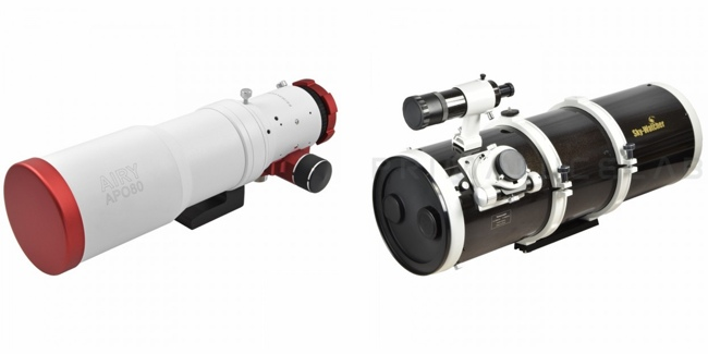 Telescope for deep-sky astrophotography: left PrimaLuceLab AIRY APO80 telescope, right SkyWatcher Newton Wide Photo 200/800 f4 telescope.