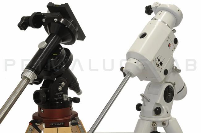 Montatura per telescopi: a sinistra la Losmandy G11 che è più piccola e leggera della EQ6, rispetto alla quale offre una maggiore capacità di carico e una migliore precisione di inseguimento.