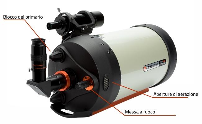 Celestron EdgeHD: caratteristiche della cella posteriore del telescopio