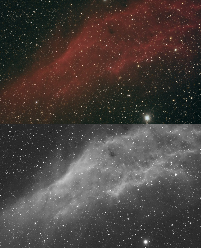 Astrophotography camera for deep-sky: California nebula recorded with  QHY8L color CCD camera (above) and QHY9 mono CCD camera with H-alpha filter (below), both with AIRY APO80 telescope (recorded by Filippo Bradaschia and Omar Cauz).