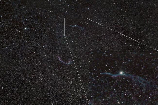 Star Adventurer contro EAGLE CORE kit: immagine della Nebulosa Velo con teleobiettivo Nikon 200mm f/4, EAGLE CORE e montatura EQ5 SynScan, somma di 6 pose da 300 secondi ciascuna.
