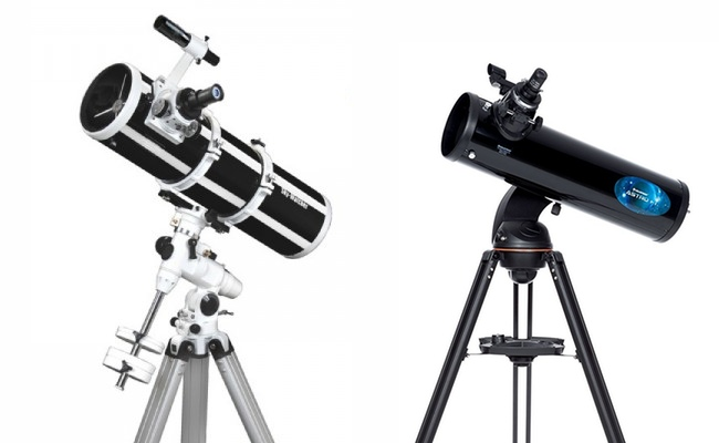 Telescopes for beginners: telescope with equatorial mount (left) and altazimutal (right)