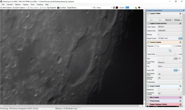 SharpCap installed in the EAGLE to high resolution astrophotography Moon and planets video capture.