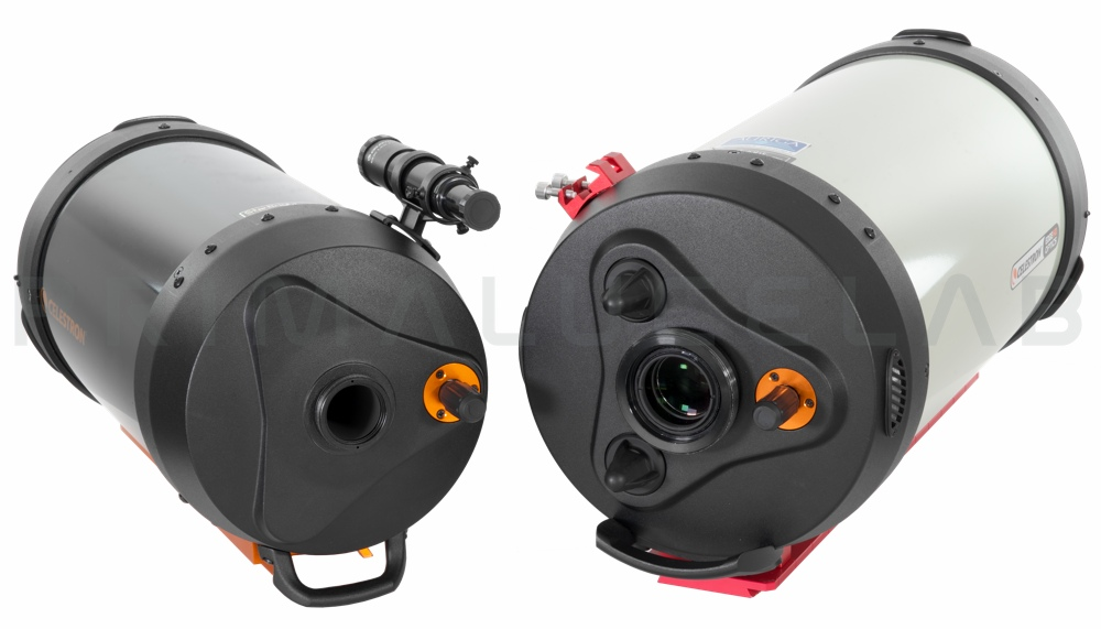 """ESATTO focuser for Schmidt-Cassegrain and EdgeHD: to the left a C8 telescope with SC thread, to the right a  EdgeHD 9.25"""" telescope with 3,3"""" thread."""