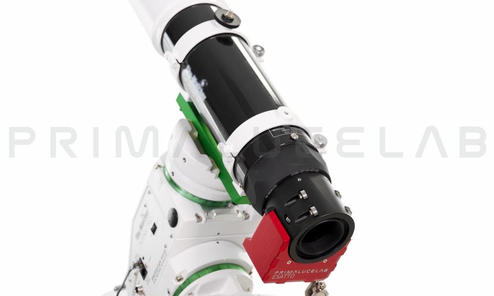 """ESATTO come focheggiatore per rifrattori e astrofotografia: ESATTO 2"""" installato sul telescopio SkyWatcher EVOSTAR 80 ED a posto del focheggiatore originale."""